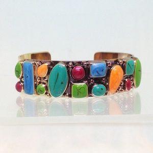 Gold Tone Cuff Bracelet Multi Color Lucite Stones